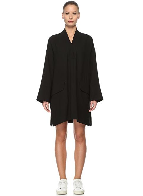 Academia V Yaka İspanyol Kol Elbise Siyah